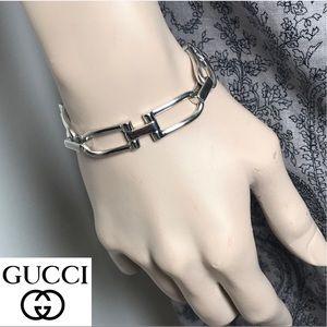 GUCCI Sterling Silver Horsebit Bracelet Iconic Bit